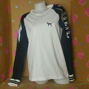 VS PINK Black & White Sequined Baseball Shirt S